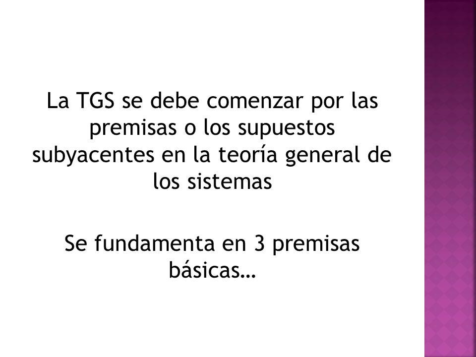 La TGS se debe comenzar por las premisas o los supuestos subyacentes en la teoría general de los sistemas Se fundamenta en 3 premisas básicas…
