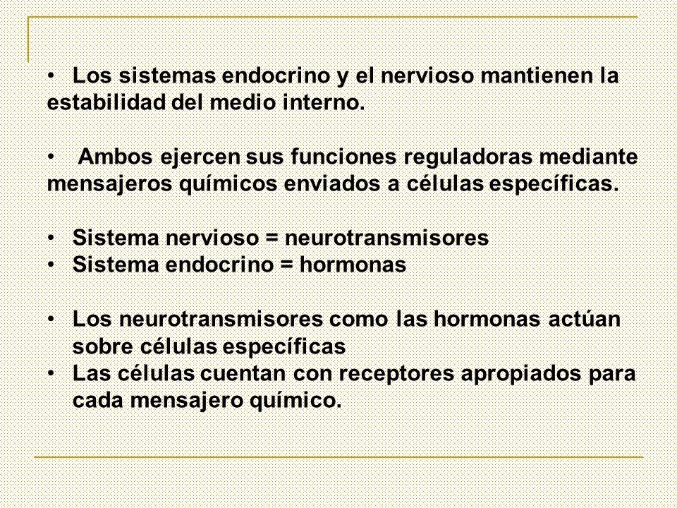 Los sistemas endocrino y el nervioso mantienen la