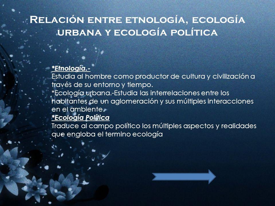 Relación entre etnología, ecología urbana y ecología política