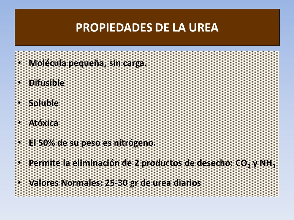 PROPIEDADES DE LA UREA Molécula pequeña, sin carga. Difusible Soluble