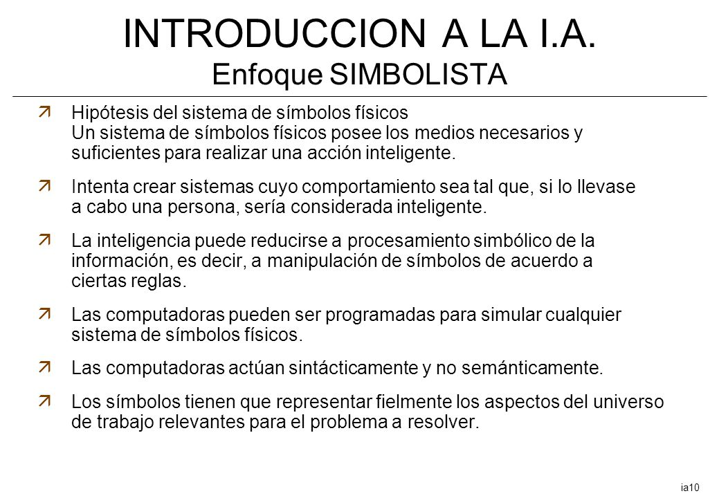 INTRODUCCION A LA I.A. Enfoque SIMBOLISTA