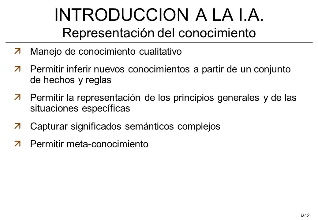 INTRODUCCION A LA I.A. Representación del conocimiento