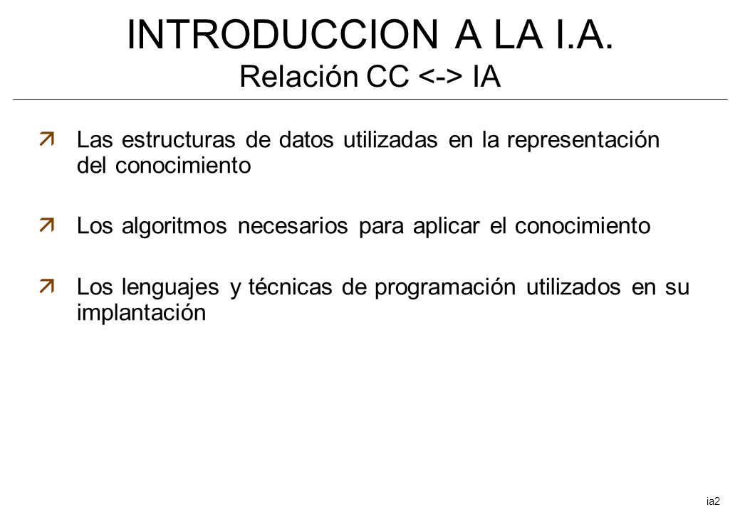 INTRODUCCION A LA I.A. Relación CC <-> IA