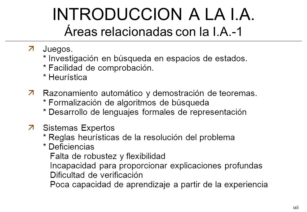 INTRODUCCION A LA I.A. Áreas relacionadas con la I.A.-1