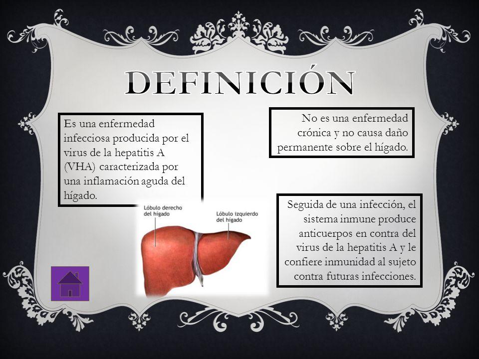 DEFINICIÓN No es una enfermedad crónica y no causa daño permanente sobre el hígado.