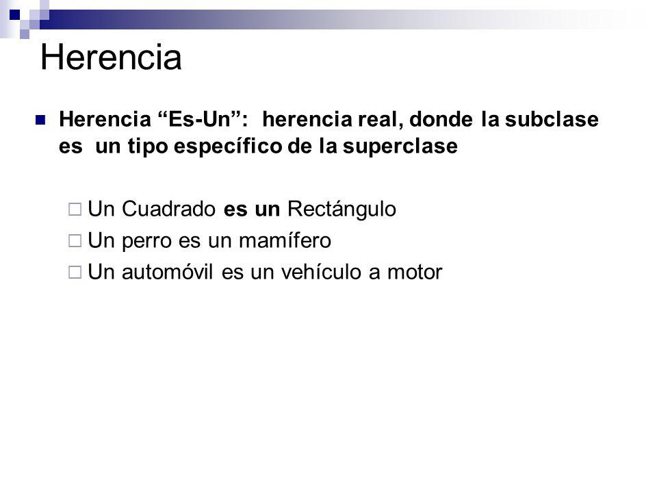 Herencia Herencia Es-Un : herencia real, donde la subclase es un tipo específico de la superclase.