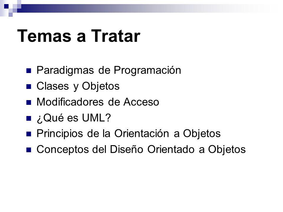 Temas a Tratar Paradigmas de Programación Clases y Objetos