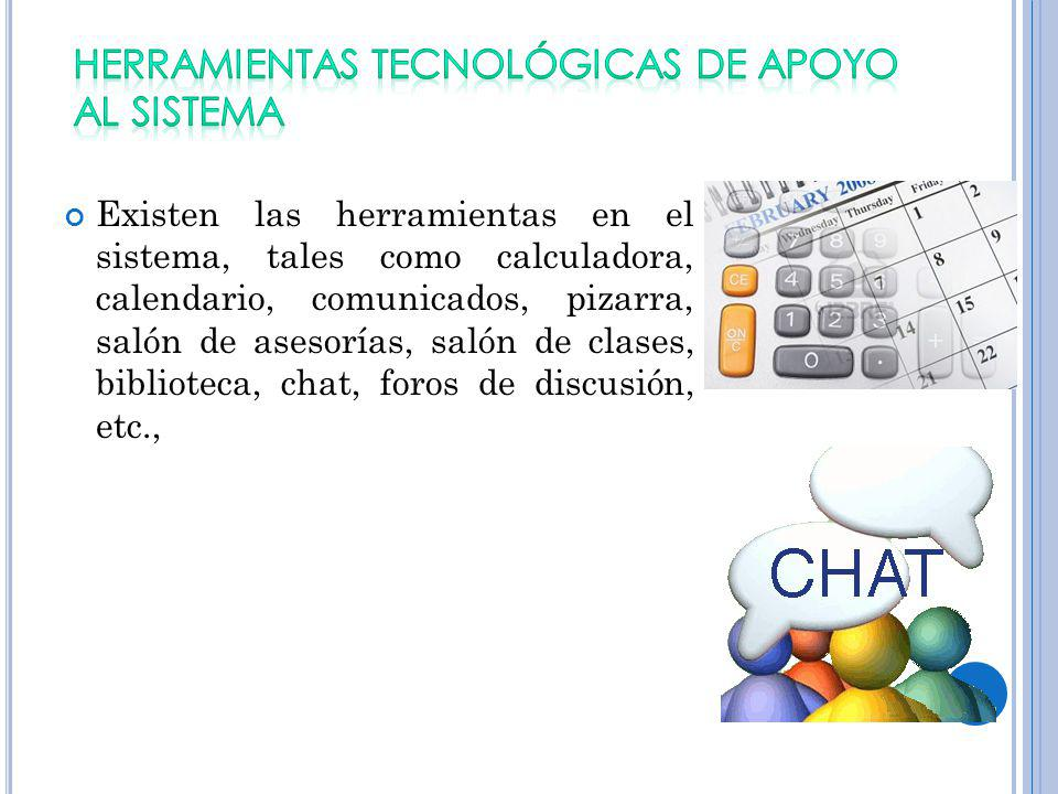 HERRAMIENTAS TECNOLÓGICAS DE APOYO AL SISTEMA