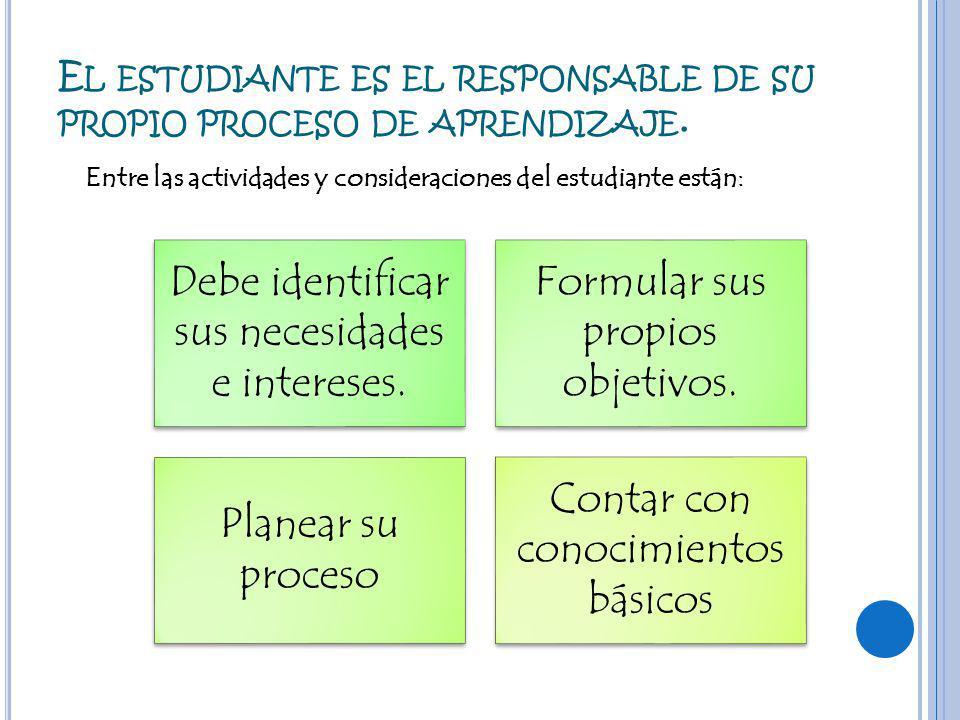 El estudiante es el responsable de su propio proceso de aprendizaje.