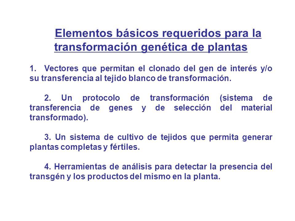 Elementos básicos requeridos para la transformación genética de plantas