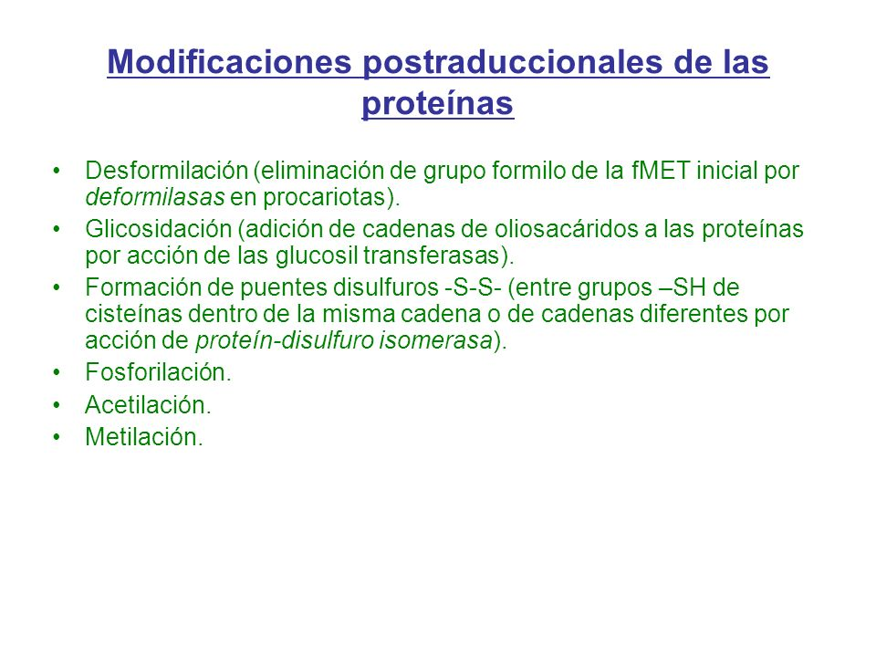 Modificaciones postraduccionales de las proteínas