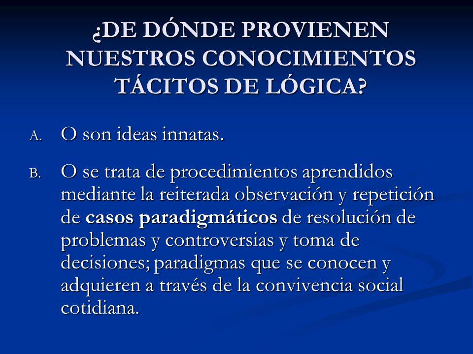 ¿DE DÓNDE PROVIENEN NUESTROS CONOCIMIENTOS TÁCITOS DE LÓGICA