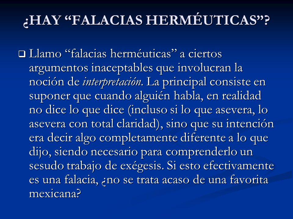 ¿HAY FALACIAS HERMÉUTICAS