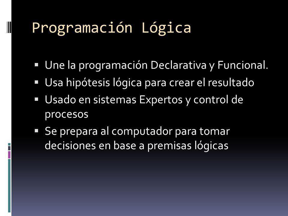 Programación Lógica Une la programación Declarativa y Funcional.