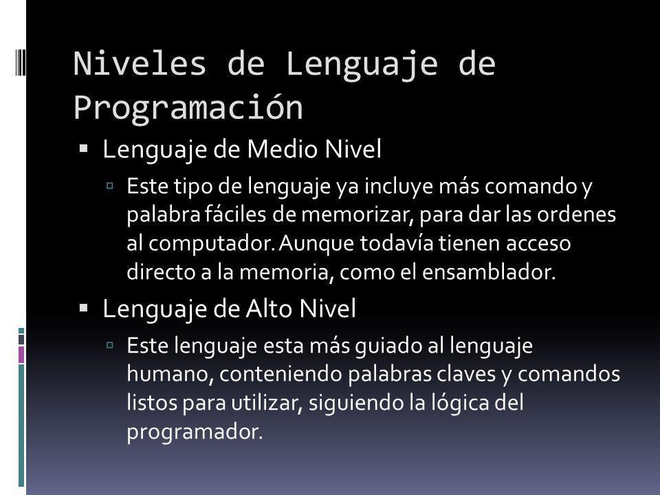 Niveles de Lenguaje de Programación