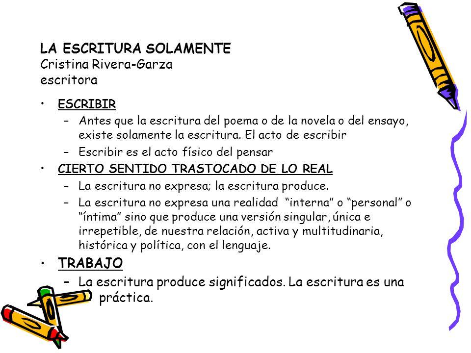 LA ESCRITURA SOLAMENTE Cristina Rivera-Garza escritora