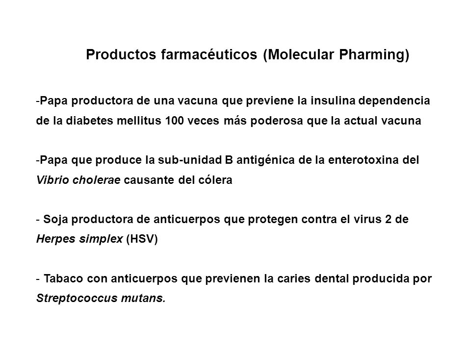 Productos farmacéuticos (Molecular Pharming)