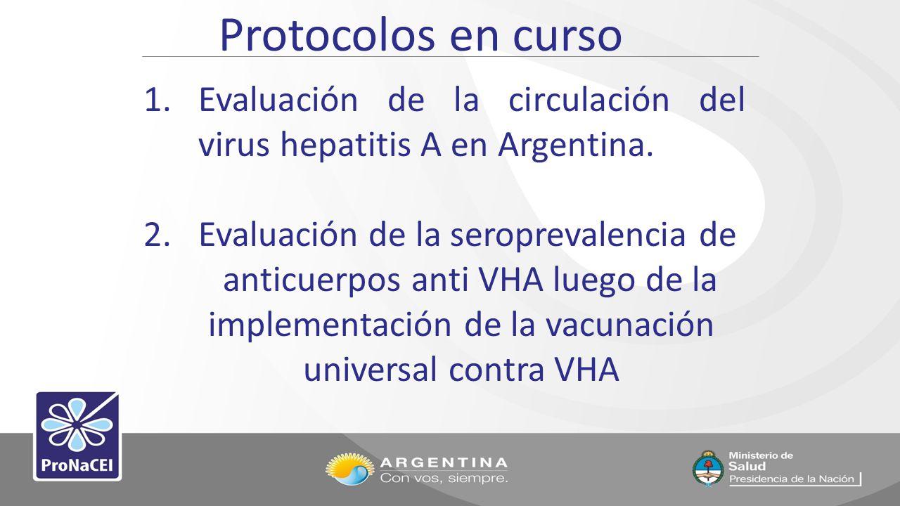 Protocolos en curso Evaluación de la circulación del virus hepatitis A en Argentina. Evaluación de la seroprevalencia de.