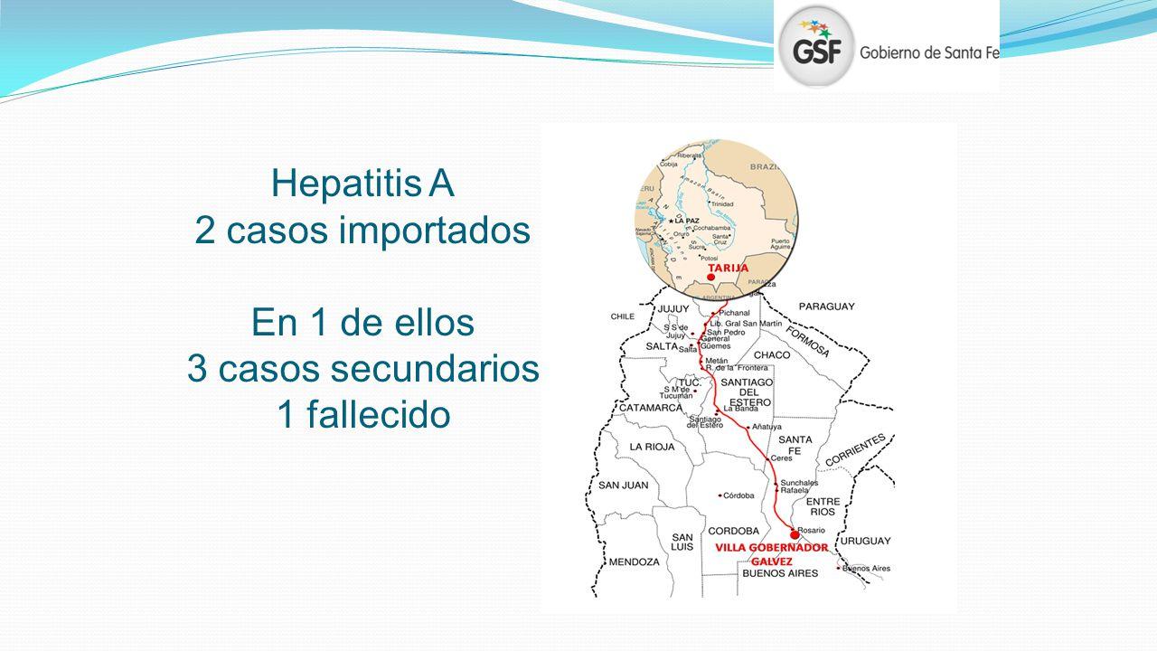 Hepatitis A 2 casos importados En 1 de ellos 3 casos secundarios 1 fallecido