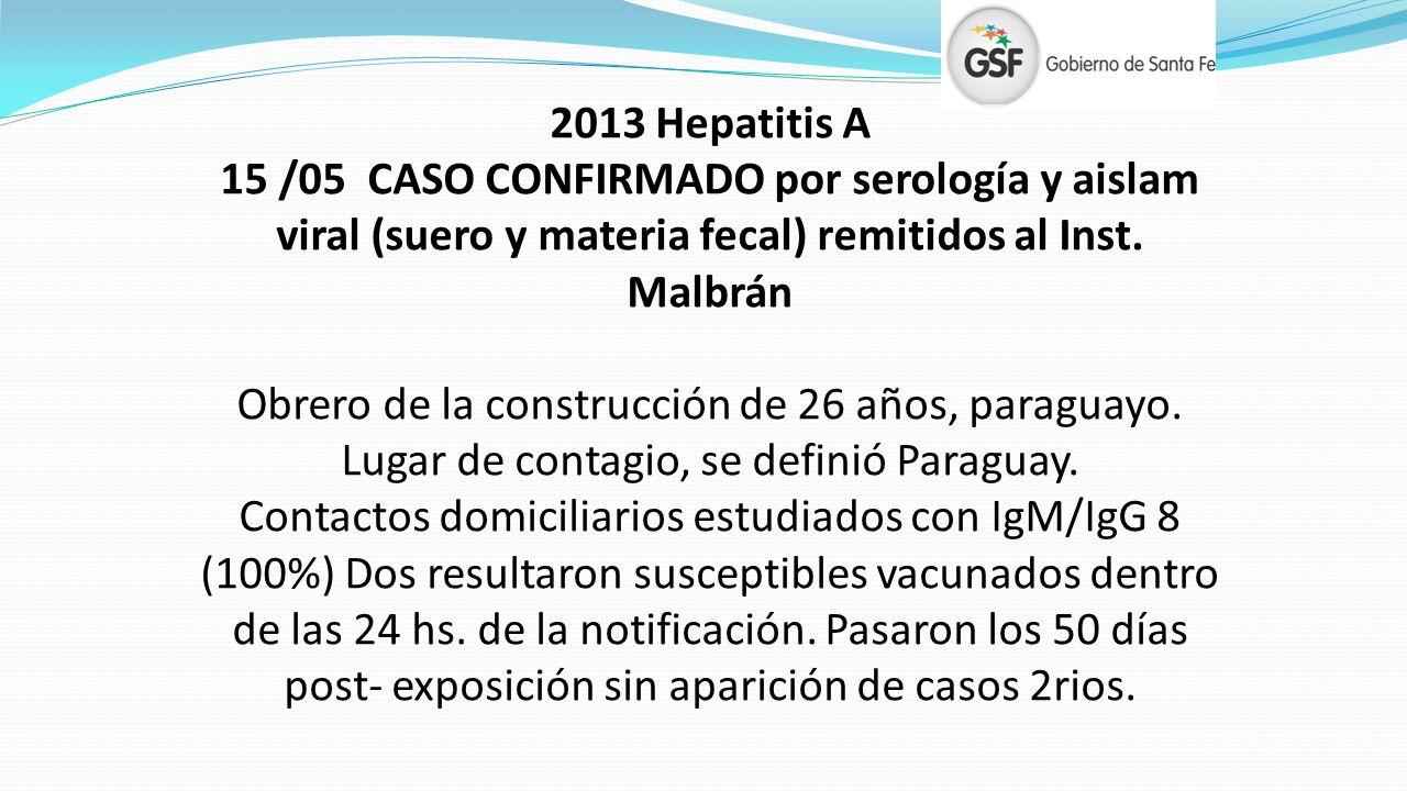 2013 Hepatitis A 15 /05 CASO CONFIRMADO por serología y aislam viral (suero y materia fecal) remitidos al Inst. Malbrán.