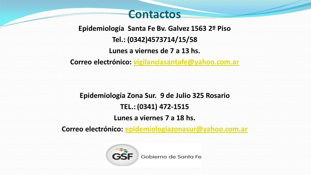 Contactos Epidemiología Santa Fe Bv. Galvez 1563 2º Piso