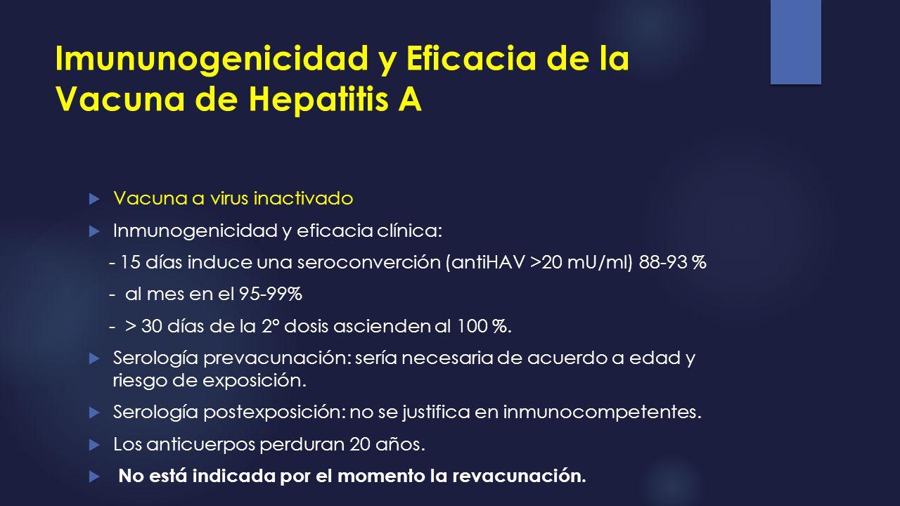 Imununogenicidad y Eficacia de la Vacuna de Hepatitis A