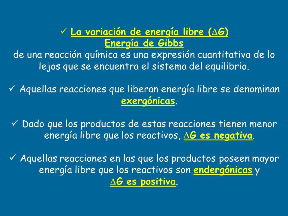 La variación de energía libre (G)