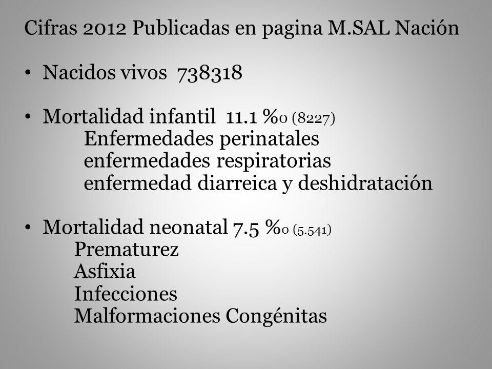 Cifras 2012 Publicadas en pagina M.SAL Nación