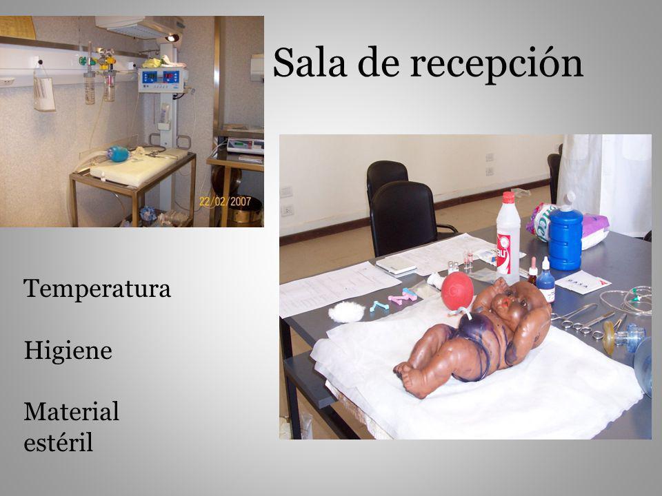 Sala de recepción Temperatura Higiene Material estéril