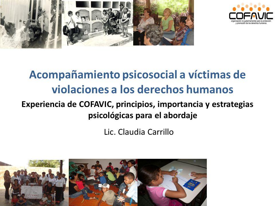 Acompañamiento psicosocial a víctimas de violaciones a los derechos humanos