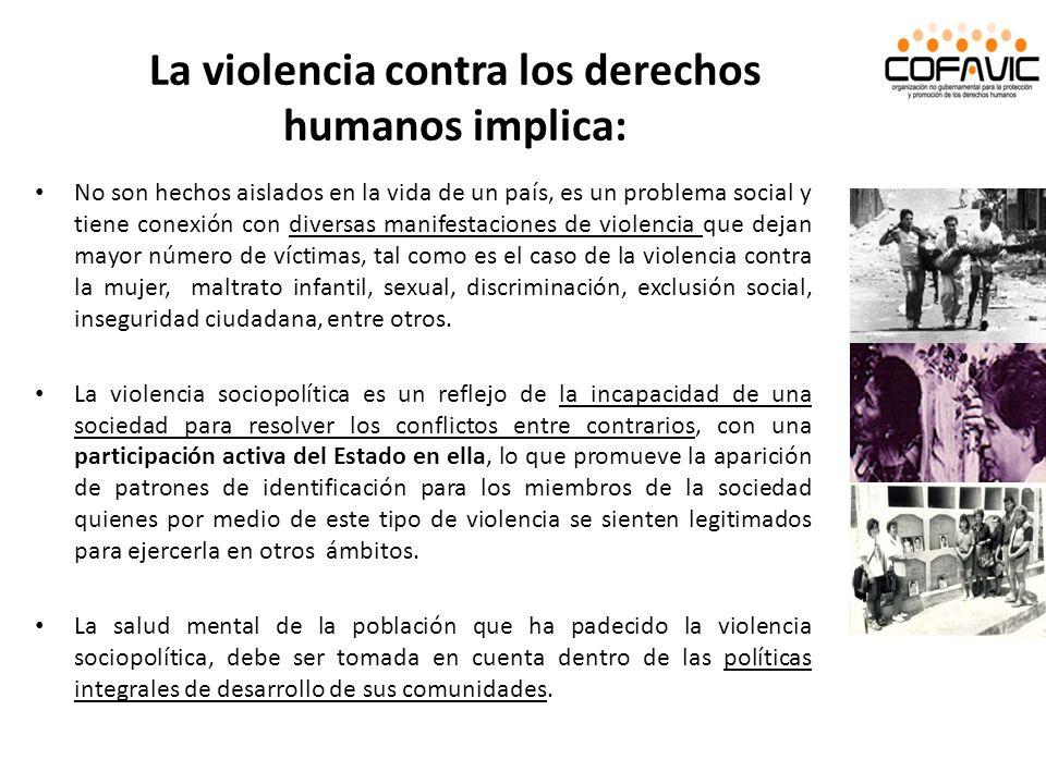 La violencia contra los derechos humanos implica: