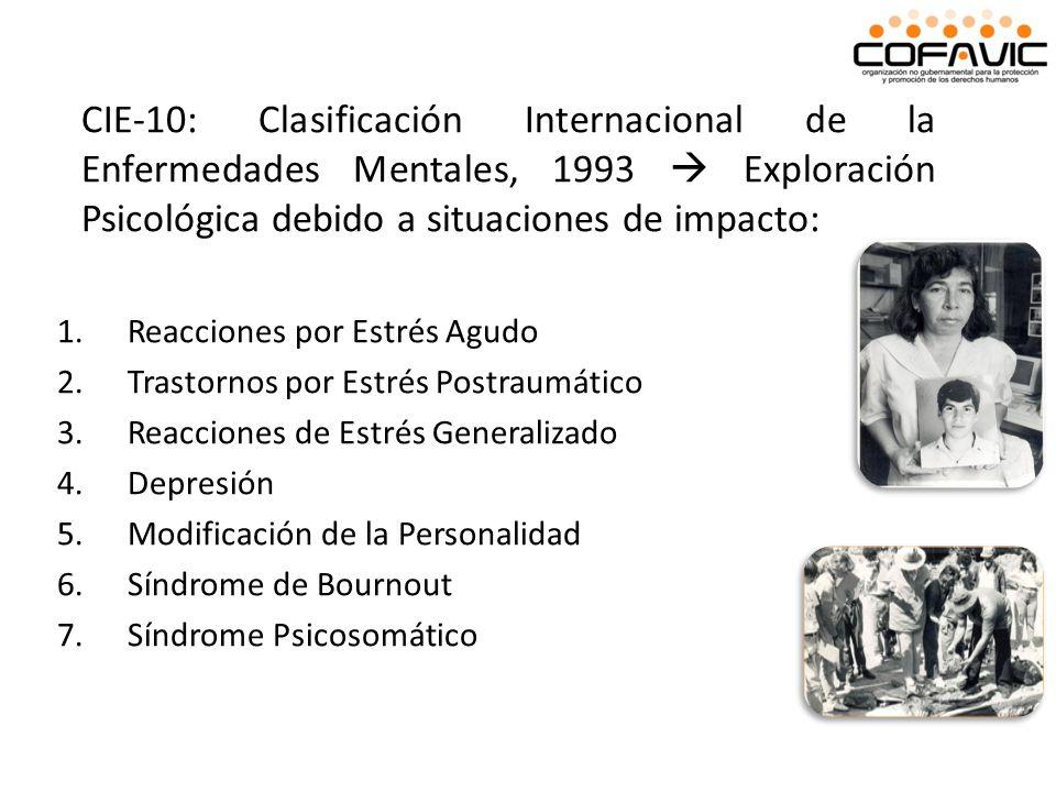 CIE-10: Clasificación Internacional de la Enfermedades Mentales, 1993  Exploración Psicológica debido a situaciones de impacto: