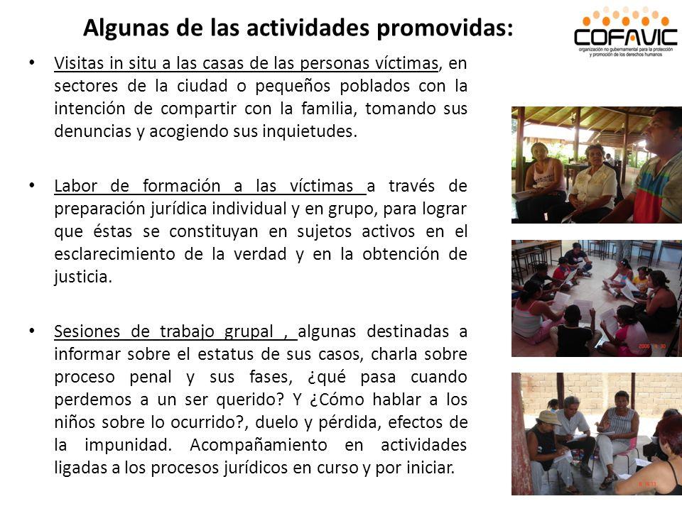 Algunas de las actividades promovidas:
