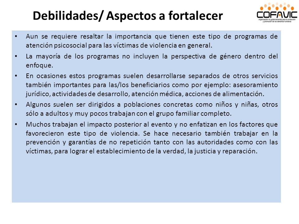 Debilidades/ Aspectos a fortalecer