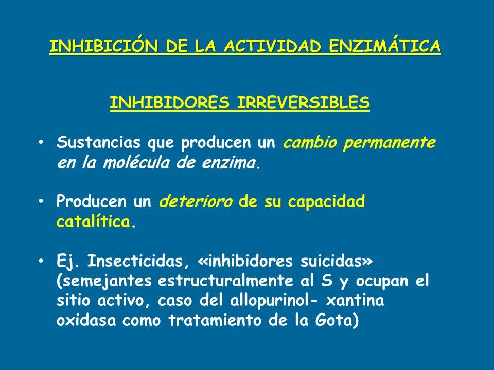 INHIBICIÓN DE LA ACTIVIDAD ENZIMÁTICA INHIBIDORES IRREVERSIBLES