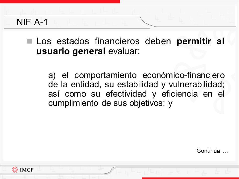 Los estados financieros deben permitir al usuario general evaluar:
