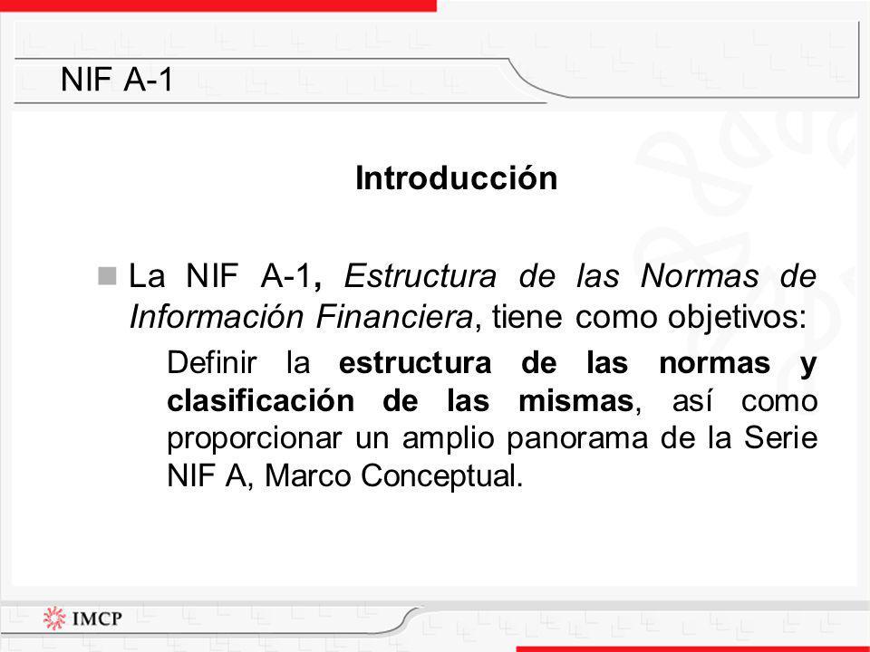 NIF A-1 Introducción. La NIF A-1, Estructura de las Normas de Información Financiera, tiene como objetivos: