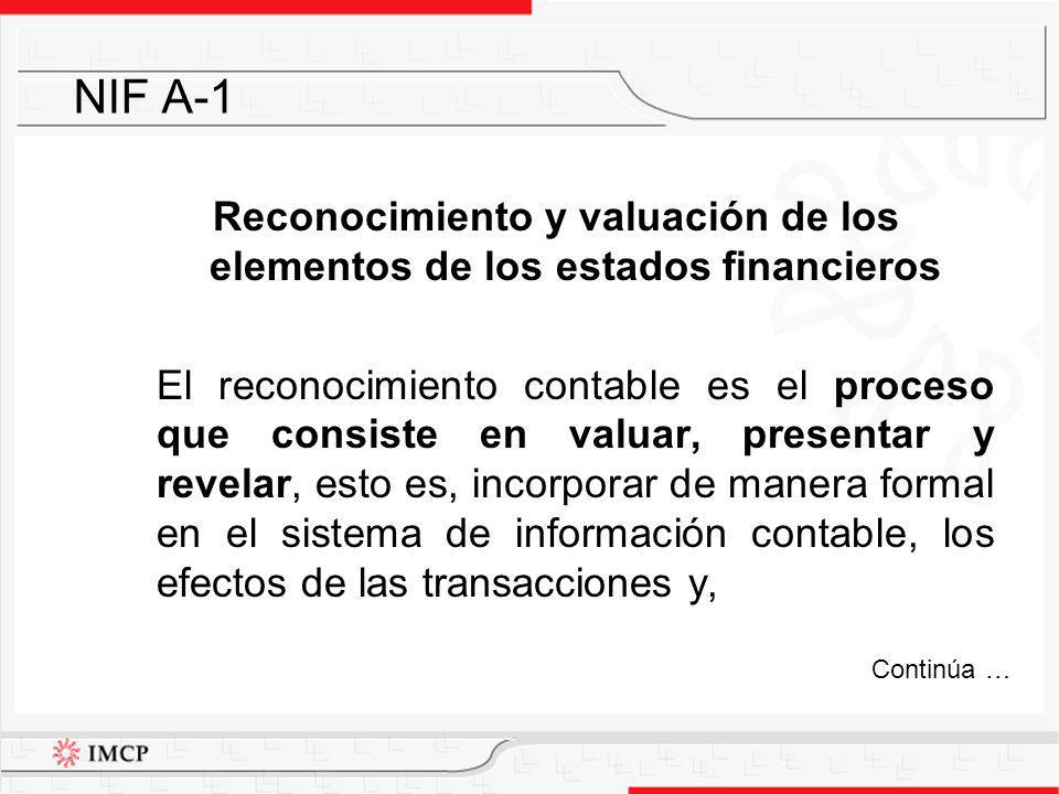 Reconocimiento y valuación de los elementos de los estados financieros
