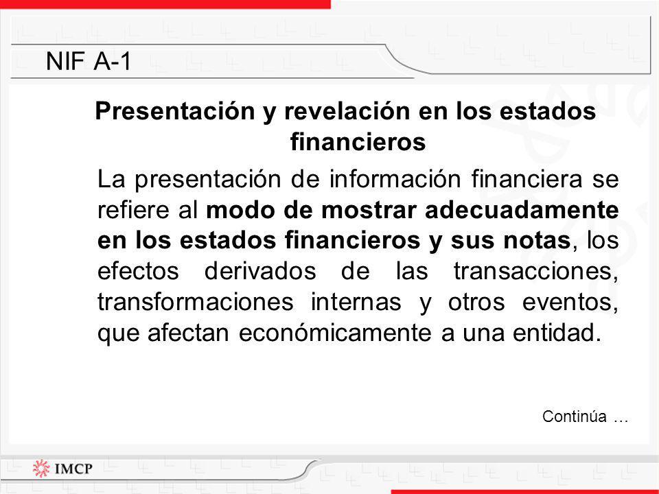 Presentación y revelación en los estados financieros