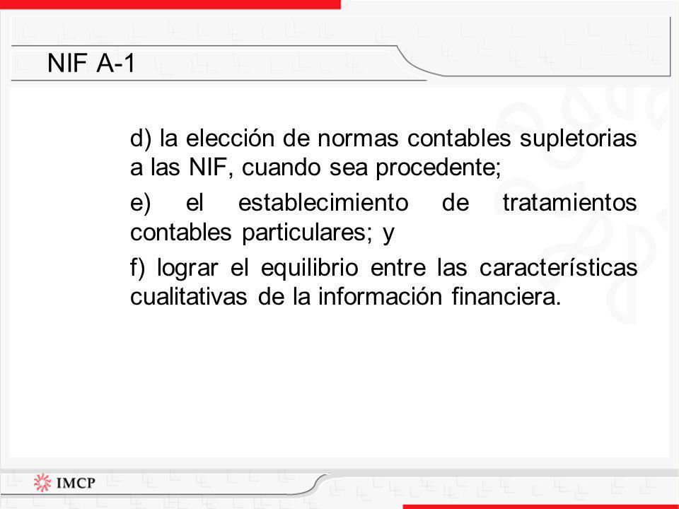 NIF A-1 d) la elección de normas contables supletorias a las NIF, cuando sea procedente;