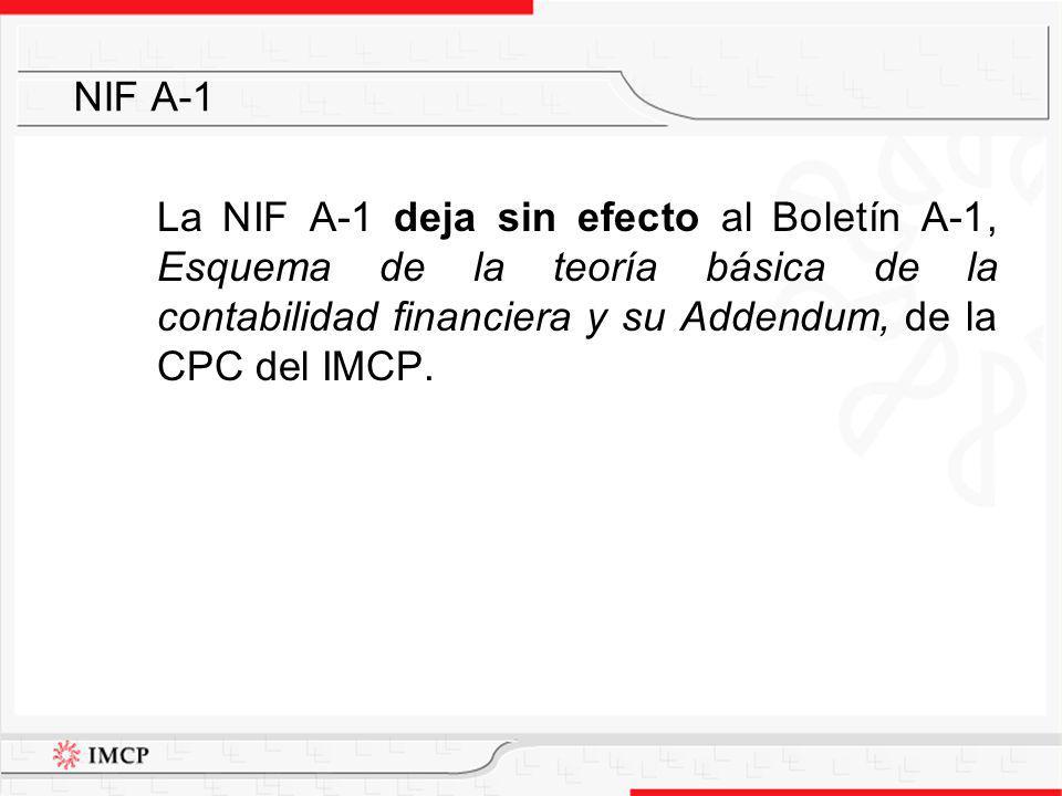 NIF A-1 La NIF A-1 deja sin efecto al Boletín A-1, Esquema de la teoría básica de la contabilidad financiera y su Addendum, de la CPC del IMCP.