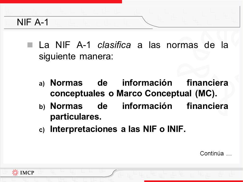 La NIF A-1 clasifica a las normas de la siguiente manera: