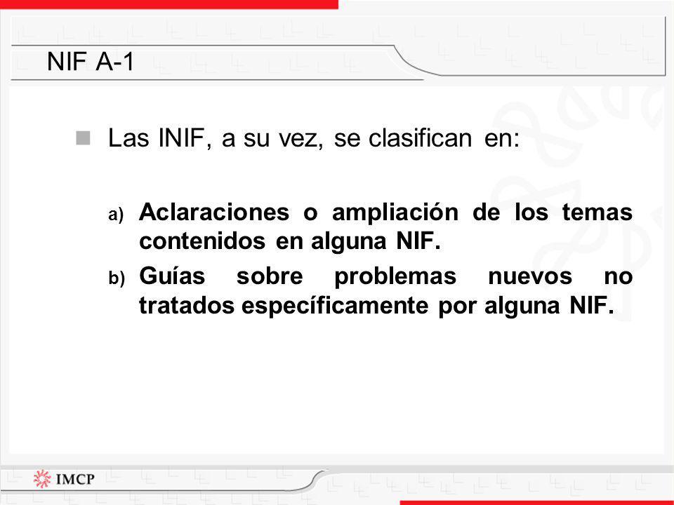 Las INIF, a su vez, se clasifican en: