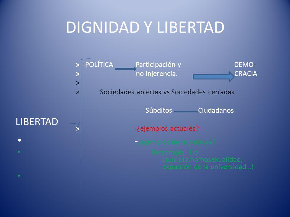DIGNIDAD Y LIBERTAD -¿ejemplos de la película LIBERTAD