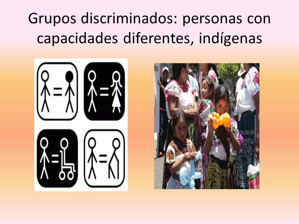Grupos discriminados: personas con capacidades diferentes, indígenas