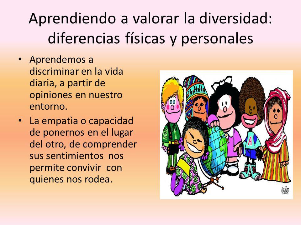 Aprendiendo a valorar la diversidad: diferencias físicas y personales