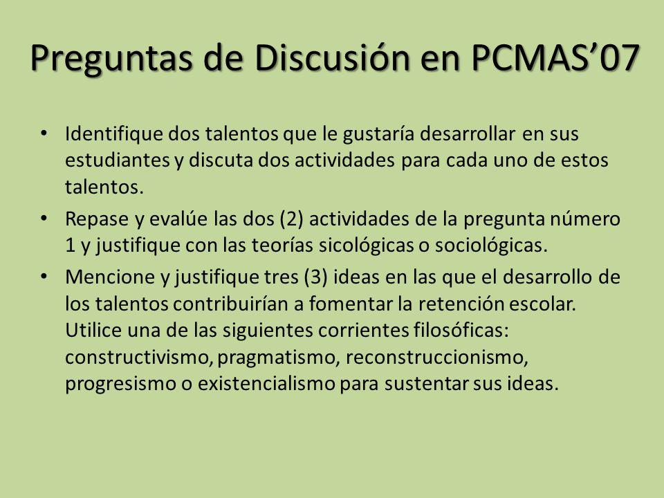 Preguntas de Discusión en PCMAS'07