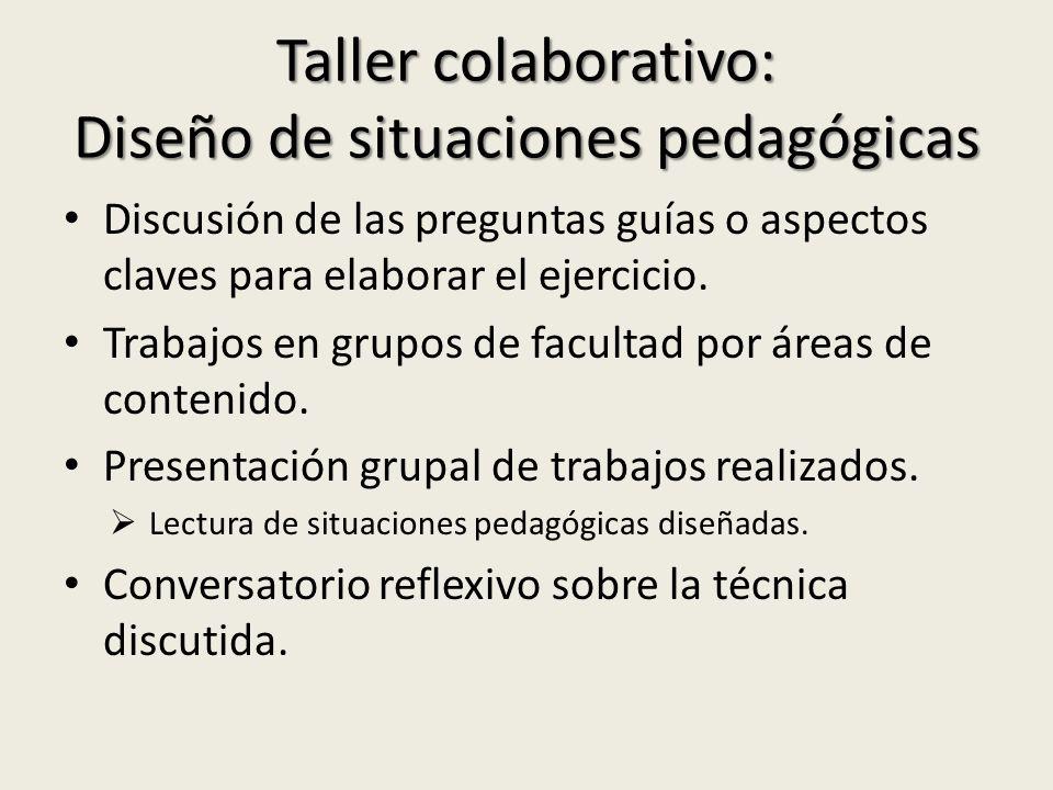 Taller colaborativo: Diseño de situaciones pedagógicas