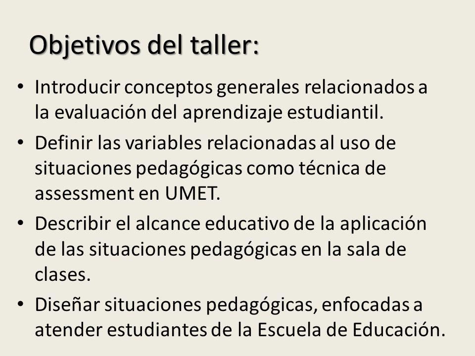 Objetivos del taller: Introducir conceptos generales relacionados a la evaluación del aprendizaje estudiantil.