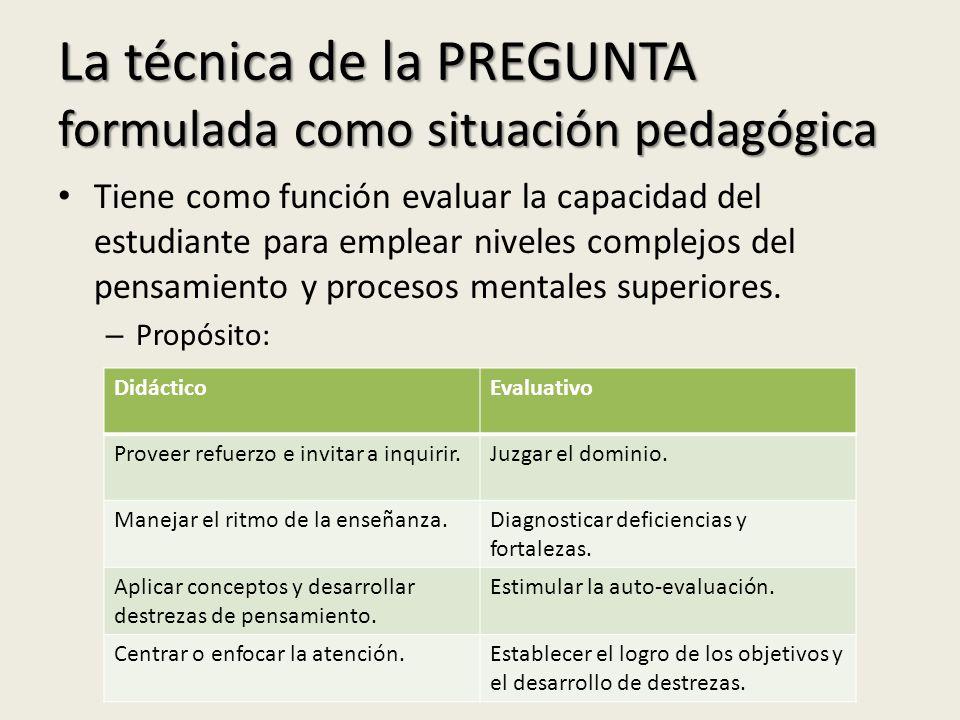 La técnica de la PREGUNTA formulada como situación pedagógica